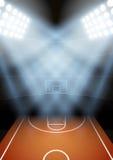 Предпосылка для стадиона баскетбола ночи плакатов внутри Стоковые Изображения RF