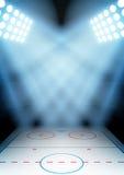 Предпосылка для стадиона хоккея на льде ночи плакатов внутри Стоковое фото RF