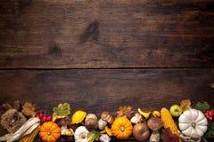 предпосылка aunumn выходит жизнь над неподвижным благодарением деревянным Стоковые Изображения RF