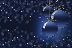 Предпосылка bokeh рождества с 3 шариками рождества стеклянными стоковые фото