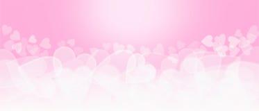 Предпосылка Bokeh розового и белого сердца форменная Стоковые Изображения RF