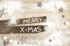 Предпосылка Christmassy серая деревянная с украшением Стоковая Фотография RF