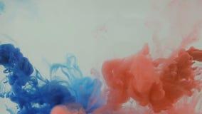 Предпосылка Colourfull Голубые и красные чернила упаденные в воду движение медленное