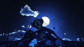 предпосылка 3D хеллоуина с зомби Стоковые Фото