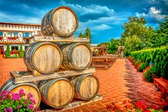 предпосылка 3d barrels модельное белое вино Стоковые Изображения