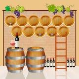 предпосылка 3d barrels модельное белое вино Стоковые Фото