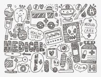Предпосылка Doodle медицинская Стоковое Изображение