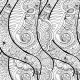 Предпосылка Doodle нарисованная рукой волнистая Страница расцветки для взрослых Стоковое Изображение
