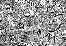 Предпосылка Doodle черно-белая абстрактная нарисованная вручную Картина волнистого стиля zentangle безшовная Стоковые Фотографии RF