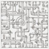 Предпосылка doodle Steampunk Иллюстрация штока