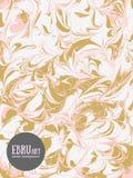 Предпосылка ebru вектора абстрактная Золото и пинк брызгают иллюстрация штока