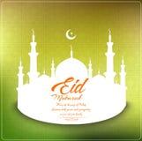 Предпосылка Eid mubarak с бумажной мечетью и полумесяц лунатируют на зеленой предпосылке Стоковая Фотография