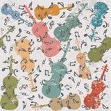 Предпосылка Grunge винтажная с скрипками и музыкальными примечаниями Стоковое Изображение RF