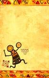 Предпосылка Grunge с африканскими этническими картинами Стоковое Изображение RF