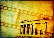 Предпосылка Grunge с ретро filmstrips и бумажной текстурой Стоковое фото RF
