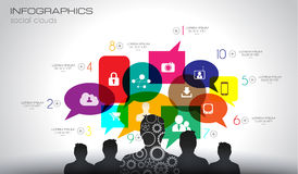 Предпосылка Infographic социальной концепции средств массовой информации и облака Стоковые Фотографии RF