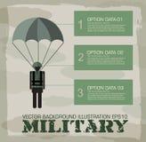 Предпосылка infographics парашютиста воинская Стоковое Изображение