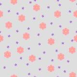 Предпосылка ` s детей безшовная с розовыми цветками Illustr вектора Стоковые Изображения