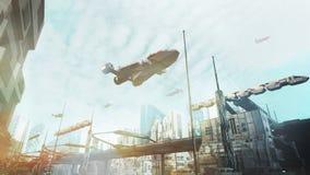 предпосылка Scifi перевода 3D Стоковая Фотография