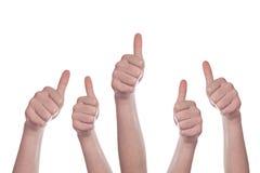 предпосылка thumbs вверх по белизне Стоковая Фотография RF