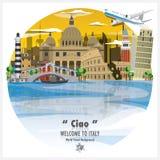 Предпосылка v перемещения и путешествия итальянского ориентир ориентира республики глобальная иллюстрация вектора