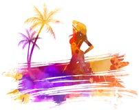 Предпосылка watercolored летом Стоковое фото RF