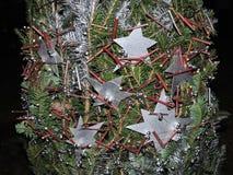 предпосылки голубой рождества темноты вал снежинок ели темно Стоковая Фотография