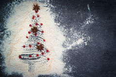 предпосылки голубой рождества темноты вал снежинок ели темно Стоковые Фото