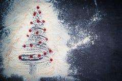 предпосылки голубой рождества темноты вал снежинок ели темно Стоковые Изображения