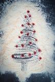 предпосылки голубой рождества темноты вал снежинок ели темно Стоковое Изображение
