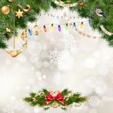 предпосылки голубой рождества темноты вал снежинок ели темно 10 eps Стоковые Фотографии RF