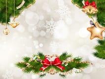 предпосылки голубой рождества темноты вал снежинок ели темно 10 eps Стоковое Изображение
