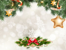 предпосылки голубой рождества темноты вал снежинок ели темно 10 eps Стоковое Изображение RF
