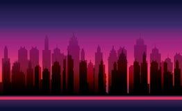 Предпосылки игры Силуэт вектора современного города Стоковое Изображение