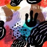 Предпосылки картины вектора иллюстрация стилизованной безшовной нарисованная вручную Простая форма, яркая картина Стоковая Фотография RF
