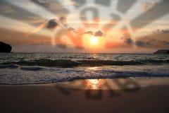 Предпосылки Нового Года с 2016-2017 на пляже Стоковое Изображение RF