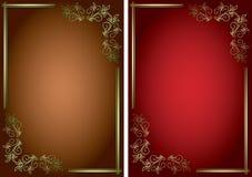 Предпосылки с золотыми декоративными рамками Стоковые Изображения RF