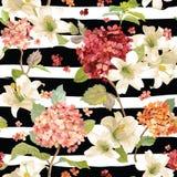 Предпосылки цветков Hortensia и лилии осени Безшовная флористическая затрапезная шикарная картина бесплатная иллюстрация
