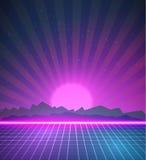 1980 предпосылок диско 80s неонового плаката ретро сделанных в стиле w Tron Стоковые Изображения RF