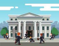 Предприниматели бежать к банку для того чтобы принять кредит иллюстрация штока