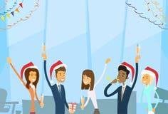 Предприниматели празднуют с Рождеством Христовым и счастливое иллюстрация вектора