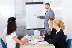 Предприниматели смотря объяснять человека Стоковое Изображение RF