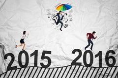 Предприниматели состязаются над 2016 Стоковое фото RF