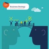 Предприниматели с знаками штепсельной вилки математически на мосте головы Иллюстрация вектора