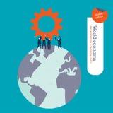 Предприниматели с шестерней на мире Стоковое Изображение