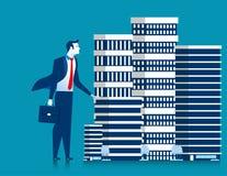 Предприниматель бизнесмена стоять свойства зданий небоскреба иллюстрация штока