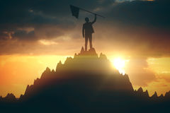 Предприниматель с флагом Стоковое Фото