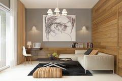 Представьте современный интерьер жить-комнаты иллюстрация вектора