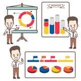 Представление бизнесмена шаржа с infographic бесплатная иллюстрация
