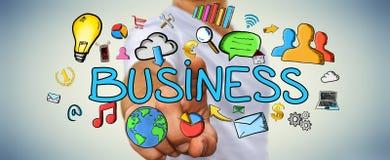 Представление дела бизнесмена касающее нарисованное вручную Стоковая Фотография